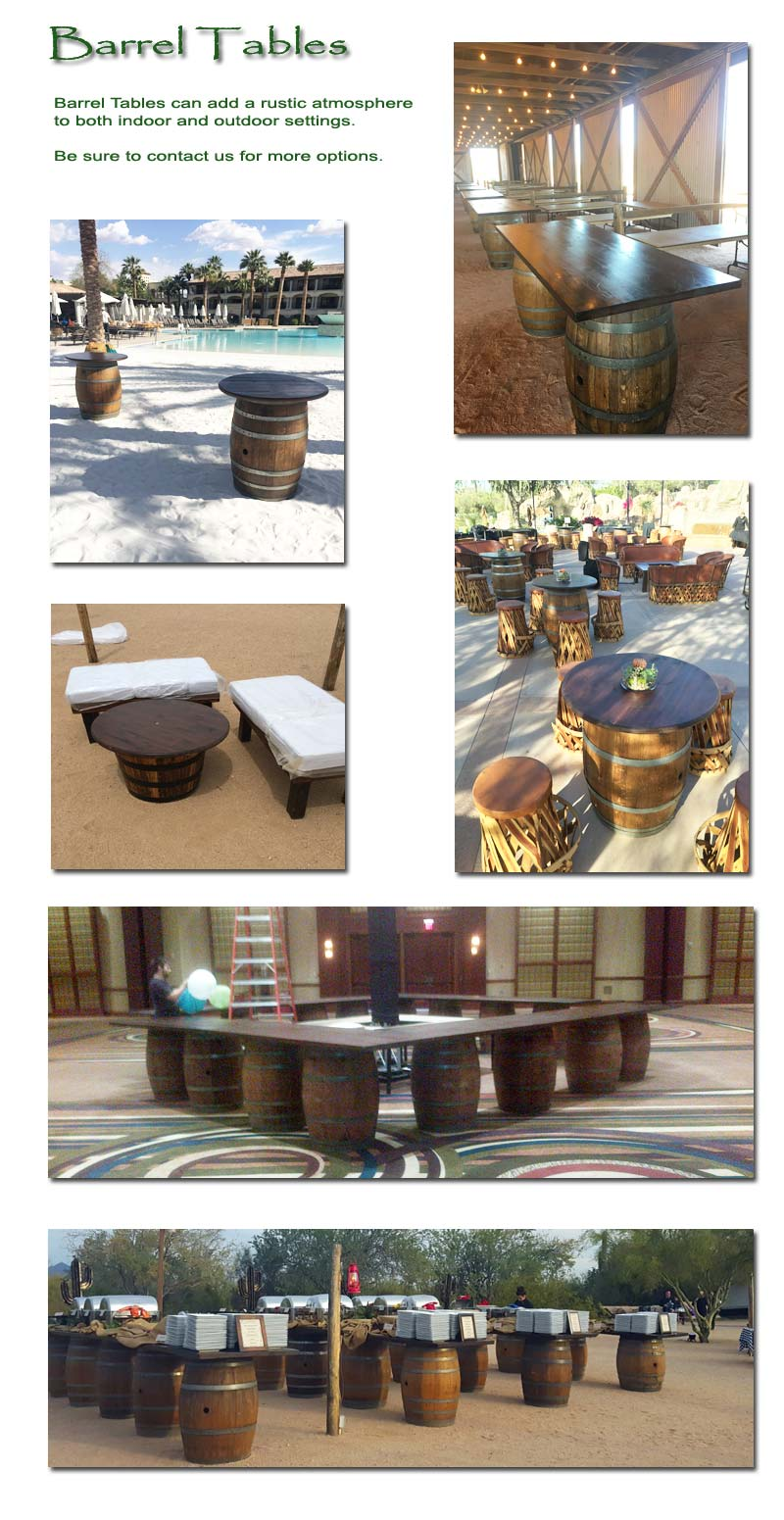 Barrel Tables can add a rustic atmosphere